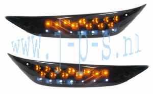KNIPPERLICHT/DAGRIJ LED SET VOOR ZWART ZIP 2000 SMOKE GLAS